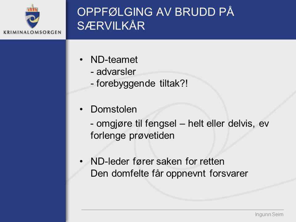 OPPFØLGING AV BRUDD PÅ SÆRVILKÅR ND-teamet - advarsler - forebyggende tiltak?.
