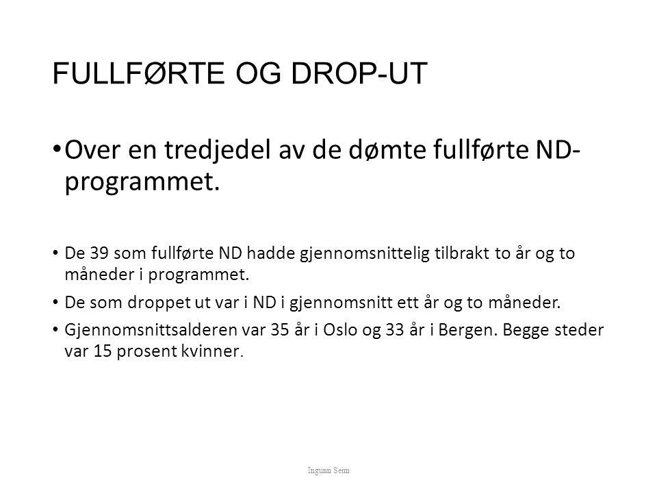 FULLFØRTE OG DROP-UT Over en tredjedel av de dømte fullførte ND- programmet.