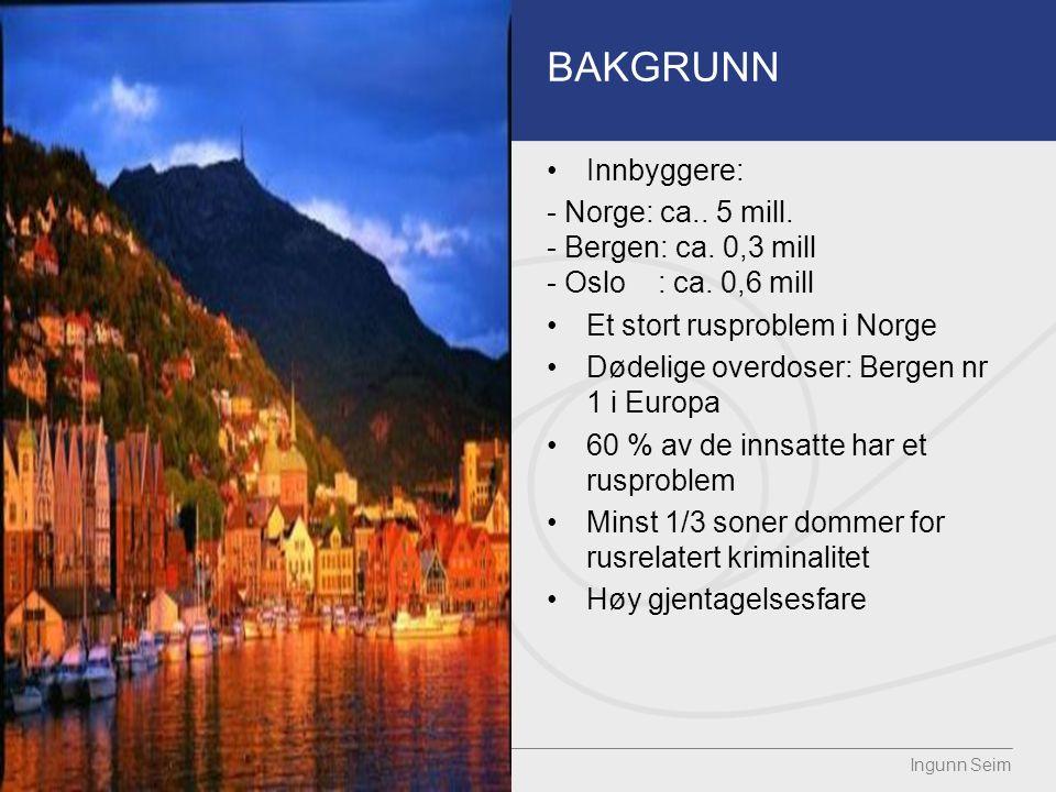 BAKGRUNN Innbyggere: - Norge: ca.. 5 mill. - Bergen: ca.