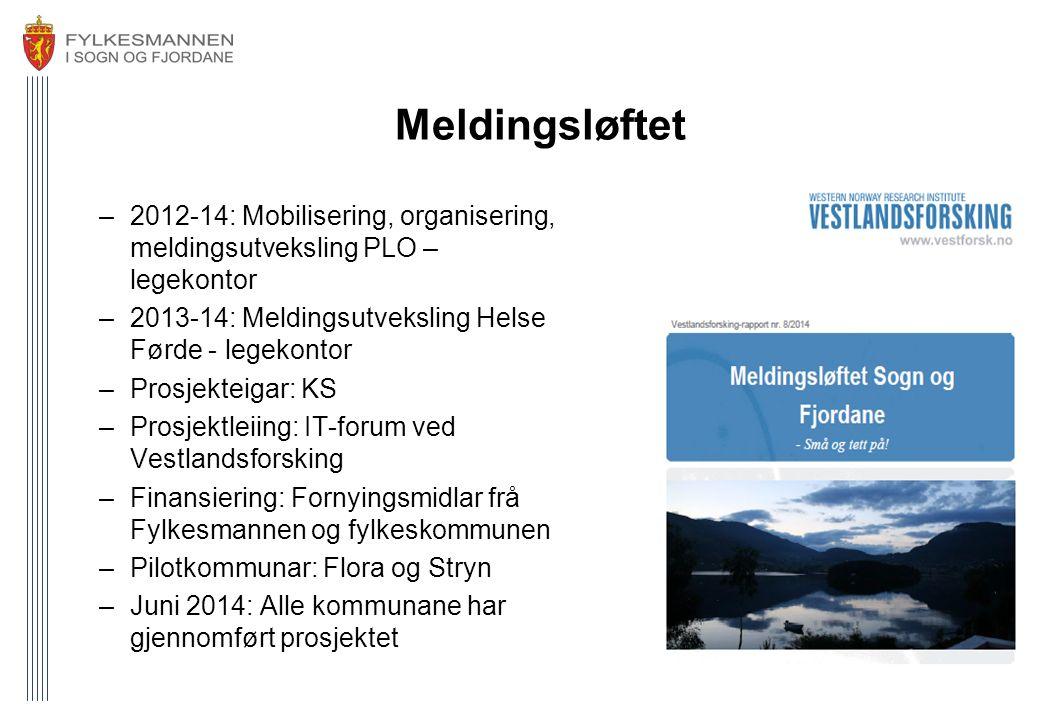 Meldingsløftet –2012-14: Mobilisering, organisering, meldingsutveksling PLO – legekontor –2013-14: Meldingsutveksling Helse Førde - legekontor –Prosje
