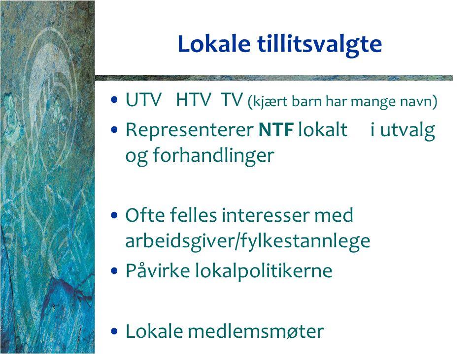 Lokale tillitsvalgte UTV HTV TV (kjært barn har mange navn) Representerer NTF lokalt i utvalg og forhandlinger Ofte felles interesser med arbeidsgiver/fylkestannlege Påvirke lokalpolitikerne Lokale medlemsmøter