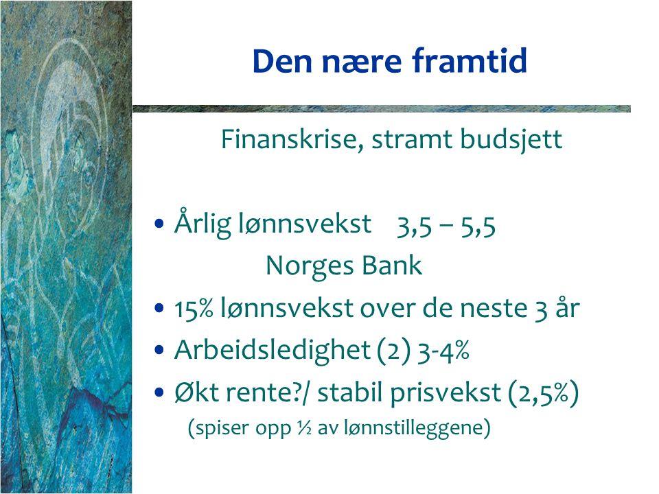 Den nære framtid Finanskrise, stramt budsjett Årlig lønnsvekst 3,5 – 5,5 Norges Bank 15% lønnsvekst over de neste 3 år Arbeidsledighet (2) 3-4% Økt rente / stabil prisvekst (2,5%) (spiser opp ½ av lønnstilleggene)