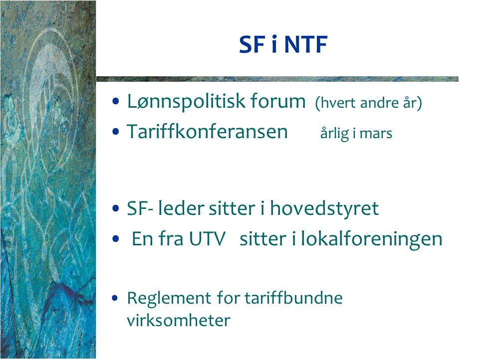 SF i NTF Lønnspolitisk forum (hvert andre år) Tariffkonferansen årlig i mars SF- leder sitter i hovedstyret En fra UTV sitter i lokalforeningen Reglement for tariffbundne virksomheter