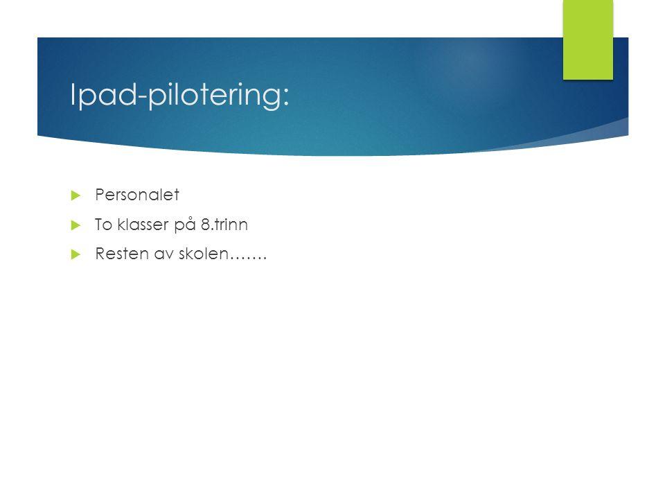 Ipad-pilotering:  Personalet  To klasser på 8.trinn  Resten av skolen…….
