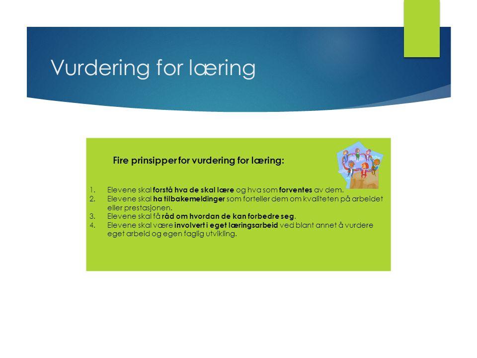 Vurdering for læring Fire prinsipper for vurdering for læring: 1.Elevene skal forstå hva de skal lære og hva som forventes av dem.