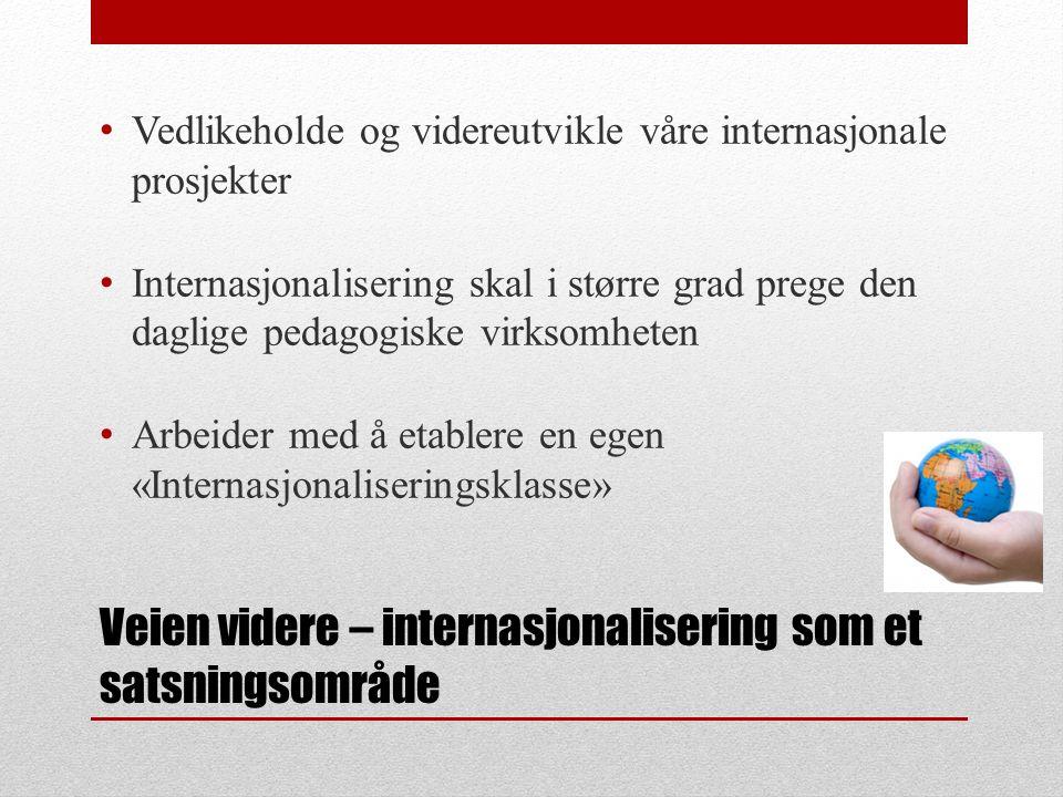 Veien videre – internasjonalisering som et satsningsområde Vedlikeholde og videreutvikle våre internasjonale prosjekter Internasjonalisering skal i større grad prege den daglige pedagogiske virksomheten Arbeider med å etablere en egen «Internasjonaliseringsklasse»