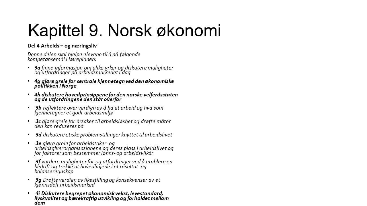 Kapittel 9. Norsk økonomi Del 4 Arbeids – og næringsliv Denne delen skal hjelpe elevene til å nå følgende kompetansemål i læreplanen: 3a finne informa