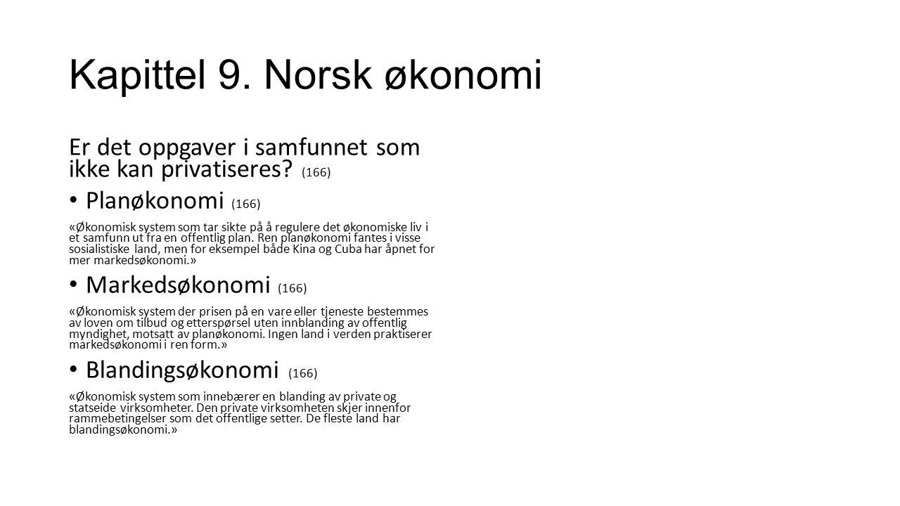 Kapittel 9. Norsk økonomi Er det oppgaver i samfunnet som ikke kan privatiseres? (166) Planøkonomi (166) «Økonomisk system som tar sikte på å regulere