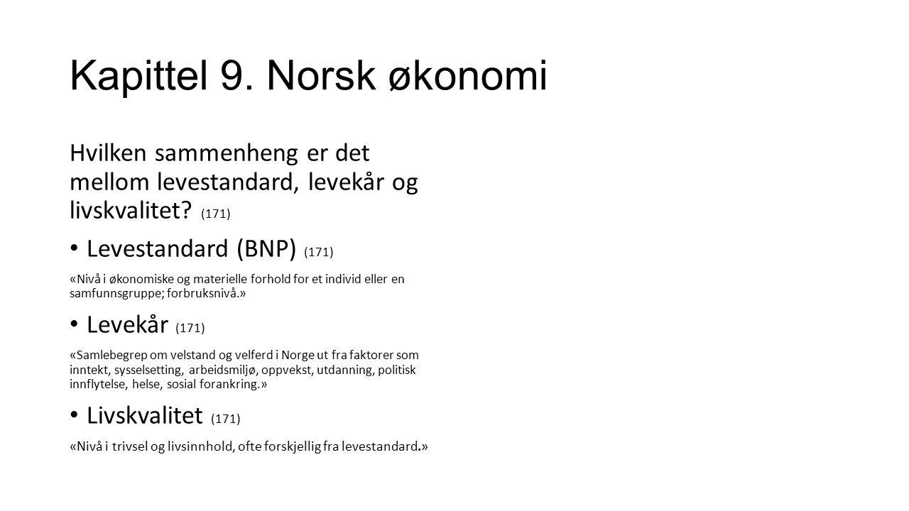 Kapittel 9. Norsk økonomi Hvilken sammenheng er det mellom levestandard, levekår og livskvalitet? (171) Levestandard (BNP) (171) «Nivå i økonomiske og