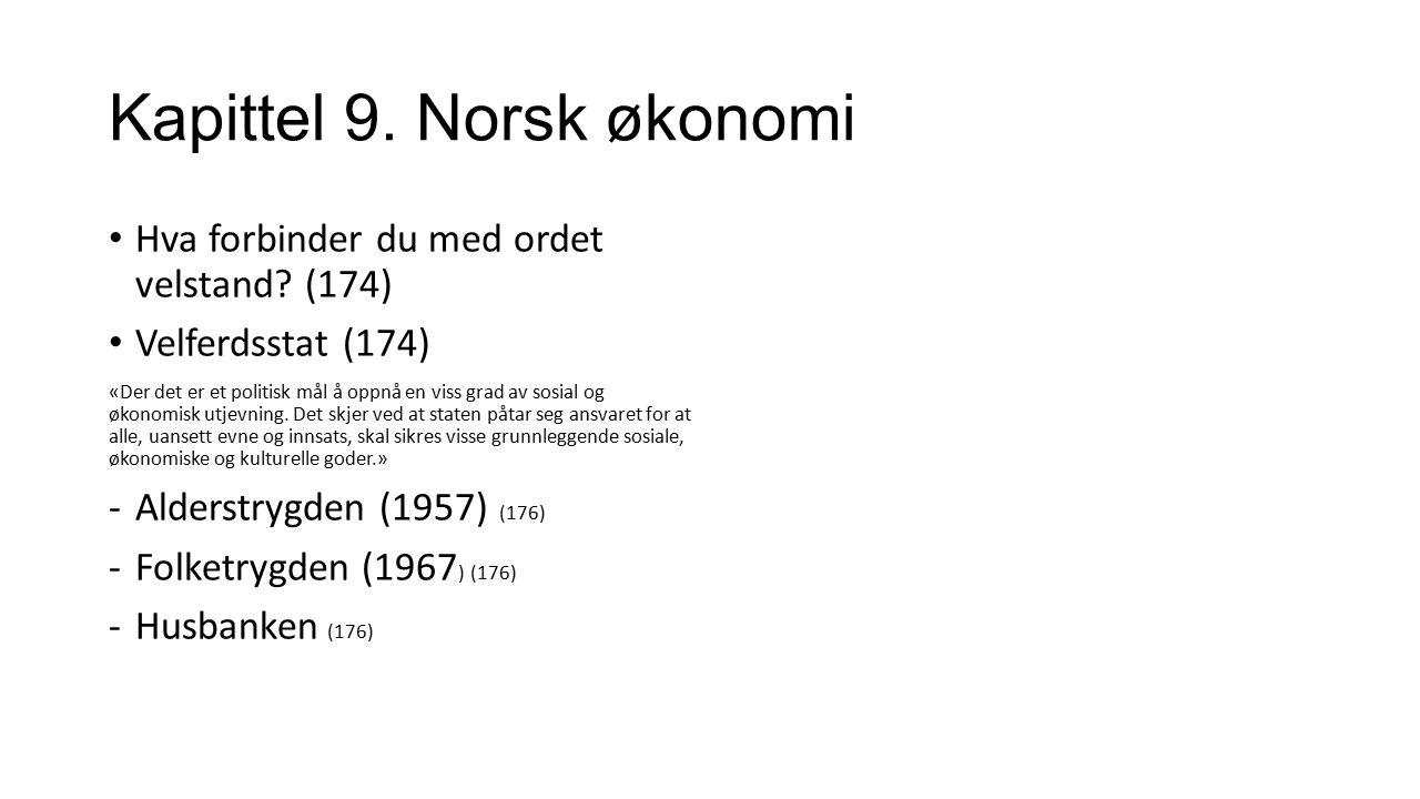 Kapittel 9. Norsk økonomi Hva forbinder du med ordet velstand? (174) Velferdsstat (174) «Der det er et politisk mål å oppnå en viss grad av sosial og
