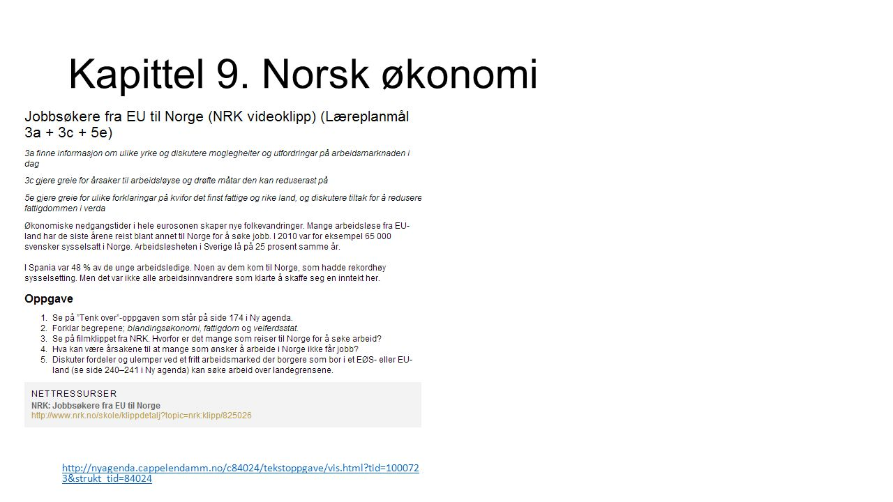 Kapittel 9. Norsk økonomi http://nyagenda.cappelendamm.no/c84024/tekstoppgave/vis.html?tid=100072 3&strukt_tid=84024