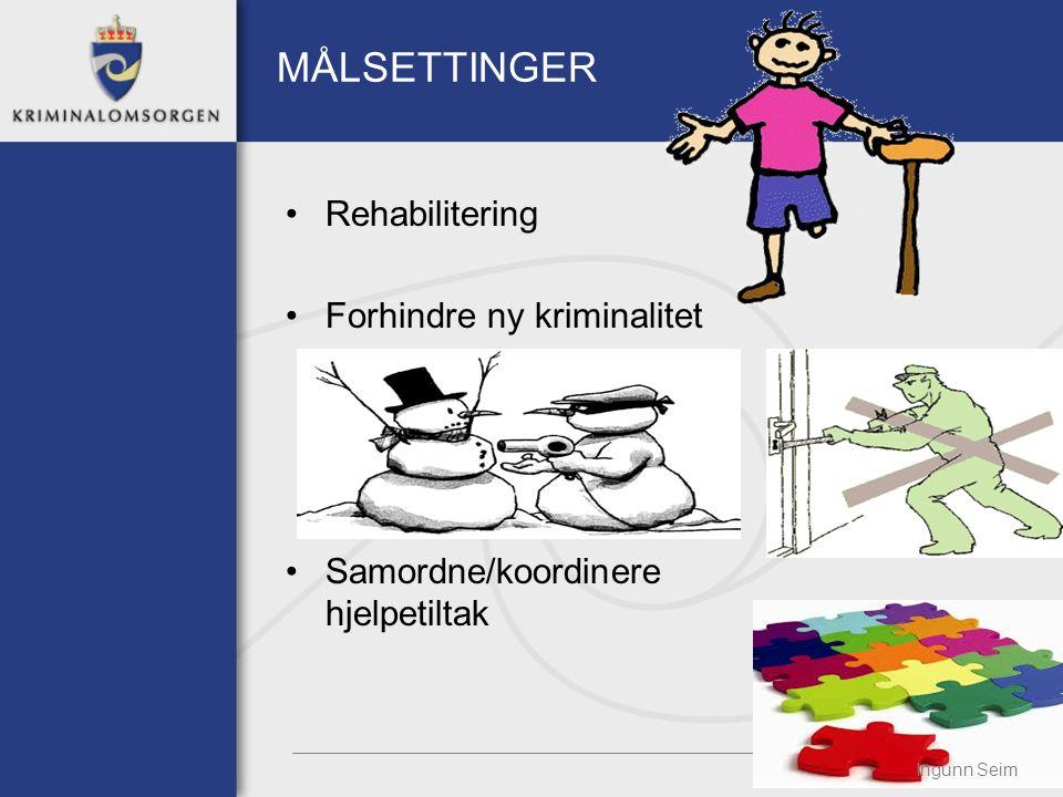 MÅLSETTINGER Rehabilitering Forhindre ny kriminalitet Samordne/koordinere hjelpetiltak Ingunn Seim