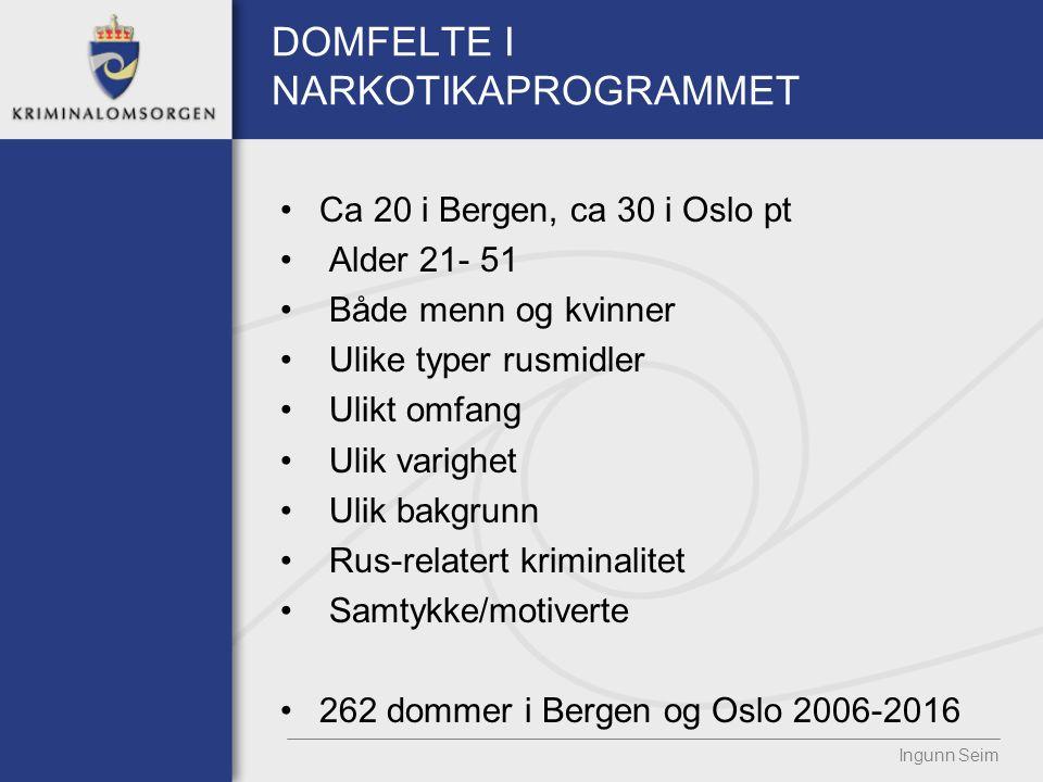 DOMFELTE I NARKOTIKAPROGRAMMET Ca 20 i Bergen, ca 30 i Oslo pt Alder 21- 51 Både menn og kvinner Ulike typer rusmidler Ulikt omfang Ulik varighet Ulik bakgrunn Rus-relatert kriminalitet Samtykke/motiverte 262 dommer i Bergen og Oslo 2006-2016 Ingunn Seim