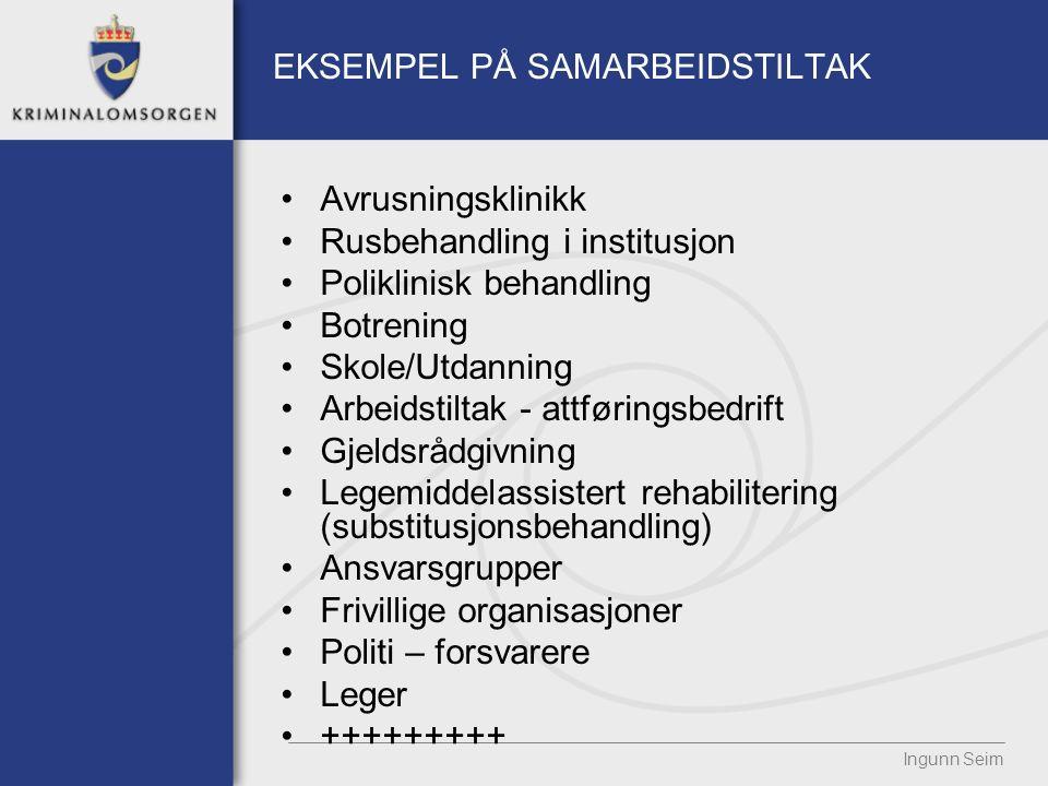 EKSEMPEL PÅ SAMARBEIDSTILTAK Avrusningsklinikk Rusbehandling i institusjon Poliklinisk behandling Botrening Skole/Utdanning Arbeidstiltak - attførings