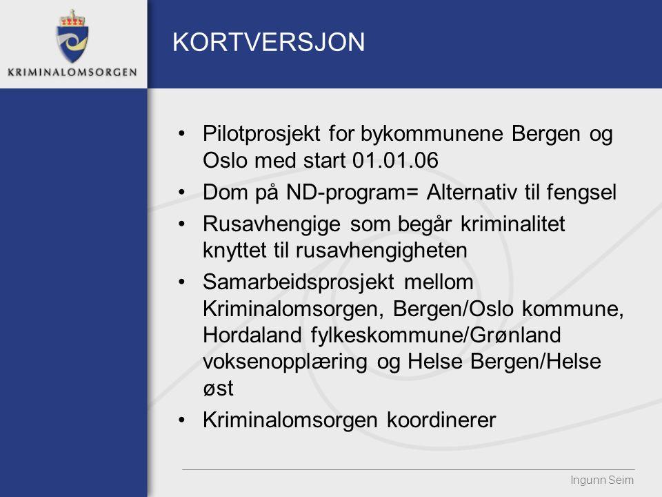 KORTVERSJON Pilotprosjekt for bykommunene Bergen og Oslo med start 01.01.06 Dom på ND-program= Alternativ til fengsel Rusavhengige som begår kriminalitet knyttet til rusavhengigheten Samarbeidsprosjekt mellom Kriminalomsorgen, Bergen/Oslo kommune, Hordaland fylkeskommune/Grønland voksenopplæring og Helse Bergen/Helse øst Kriminalomsorgen koordinerer Ingunn Seim
