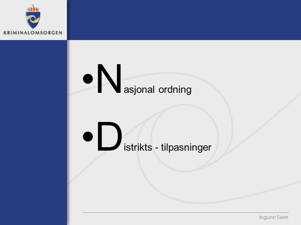 N asjonal ordning D istrikts - tilpasninger Ingunn Seim