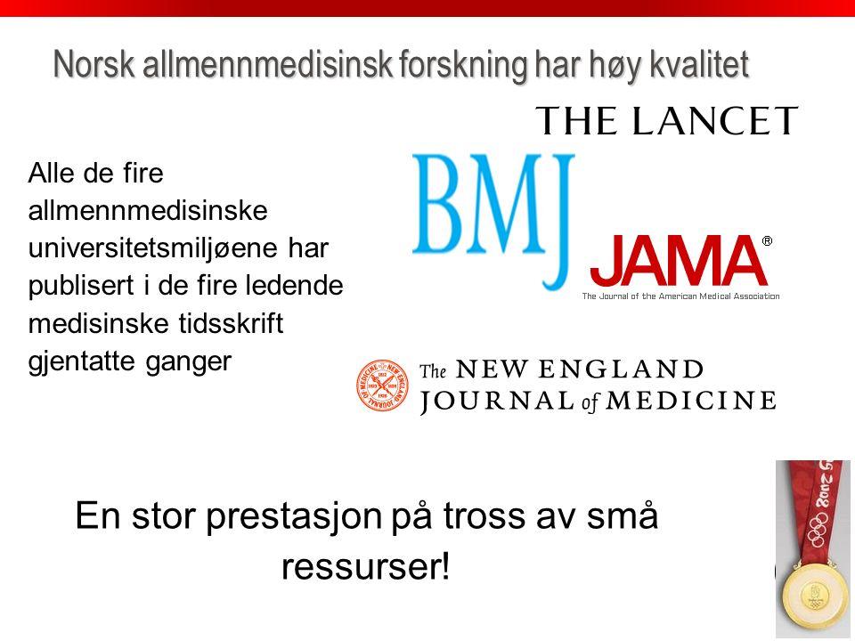 uib.no Norsk allmennmedisinsk forskning har høy kvalitet Alle de fire allmennmedisinske universitetsmiljøene har publisert i de fire ledende medisinske tidsskrift gjentatte ganger En stor prestasjon på tross av små ressurser!