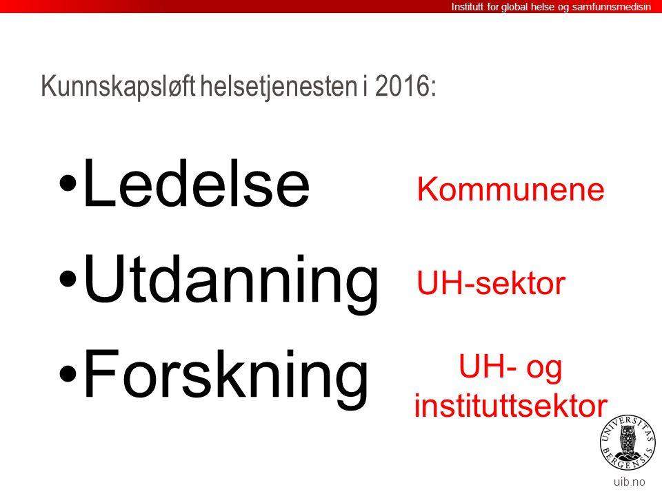 uib.no Kunnskapsløft helsetjenesten i 2016: Ledelse Utdanning Forskning Institutt for global helse og samfunnsmedisin Kommunene UH- og instituttsektor UH-sektor
