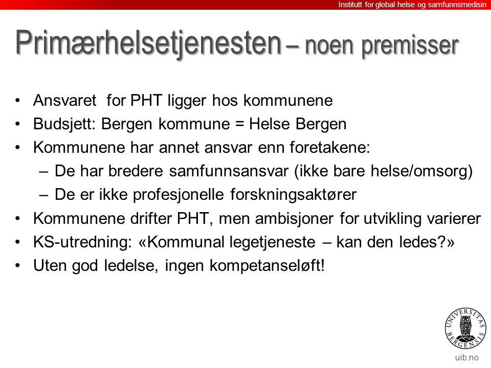 uib.no Primærhelsetjenesten – noen premisser Ansvaret for PHT ligger hos kommunene Budsjett: Bergen kommune = Helse Bergen Kommunene har annet ansvar enn foretakene: –De har bredere samfunnsansvar (ikke bare helse/omsorg) –De er ikke profesjonelle forskningsaktører Kommunene drifter PHT, men ambisjoner for utvikling varierer KS-utredning: «Kommunal legetjeneste – kan den ledes » Uten god ledelse, ingen kompetanseløft.