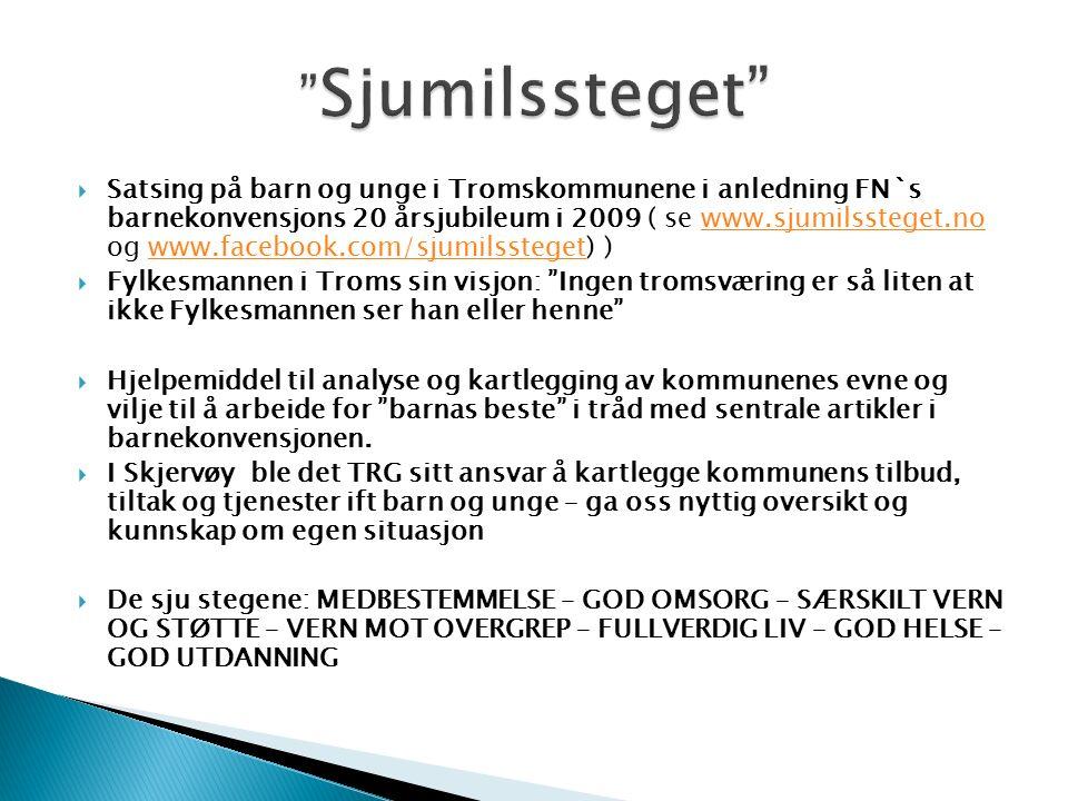  Satsing på barn og unge i Tromskommunene i anledning FN`s barnekonvensjons 20 årsjubileum i 2009 ( se www.sjumilssteget.no og www.facebook.com/sjumilssteget) )www.sjumilssteget.nowww.facebook.com/sjumilssteget  Fylkesmannen i Troms sin visjon: Ingen tromsværing er så liten at ikke Fylkesmannen ser han eller henne  Hjelpemiddel til analyse og kartlegging av kommunenes evne og vilje til å arbeide for barnas beste i tråd med sentrale artikler i barnekonvensjonen.
