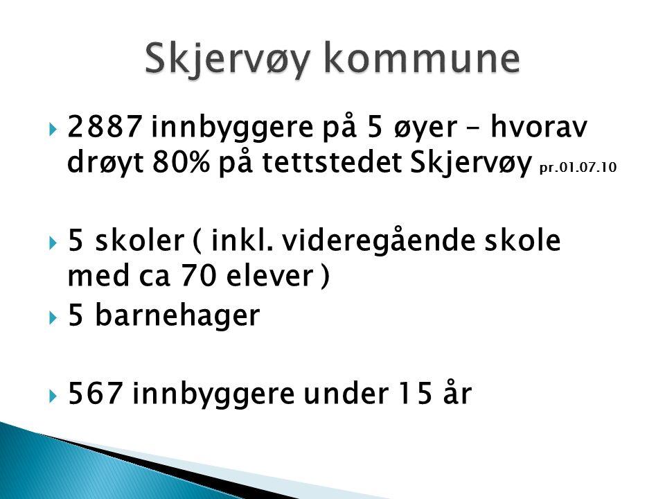  2887 innbyggere på 5 øyer – hvorav drøyt 80% på tettstedet Skjervøy pr.01.07.10  5 skoler ( inkl.