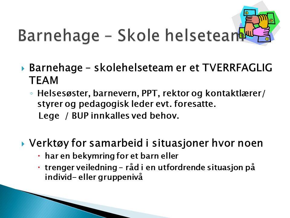  Barnehage – skolehelseteam er et TVERRFAGLIG TEAM ◦ Helsesøster, barnevern, PPT, rektor og kontaktlærer/ styrer og pedagogisk leder evt.