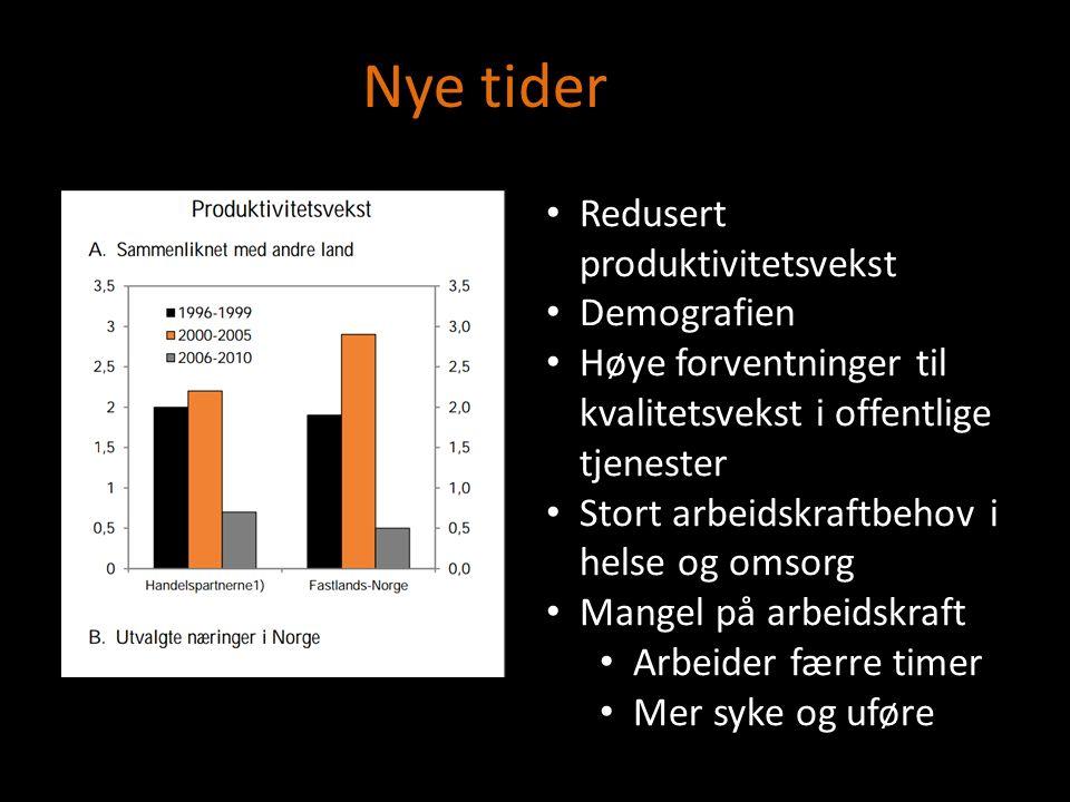 Redusert produktivitetsvekst Demografien Høye forventninger til kvalitetsvekst i offentlige tjenester Stort arbeidskraftbehov i helse og omsorg Mangel på arbeidskraft Arbeider færre timer Mer syke og uføre Nye tider