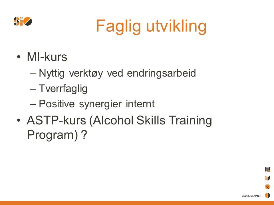 Faglig utvikling MI-kurs –Nyttig verktøy ved endringsarbeid –Tverrfaglig –Positive synergier internt ASTP-kurs (Alcohol Skills Training Program) ?