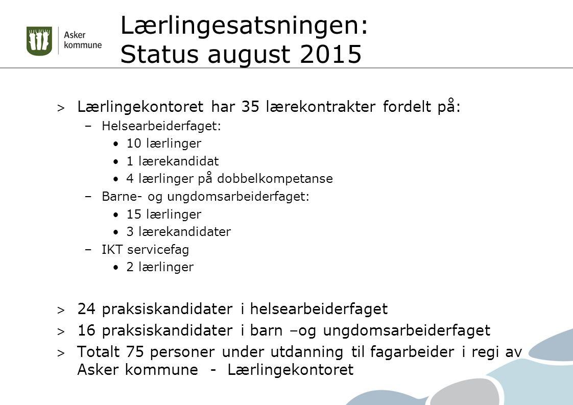 Lærlingesatsningen: Status august 2015 > Lærlingekontoret har 35 lærekontrakter fordelt på: –Helsearbeiderfaget: 10 lærlinger 1 lærekandidat 4 lærling