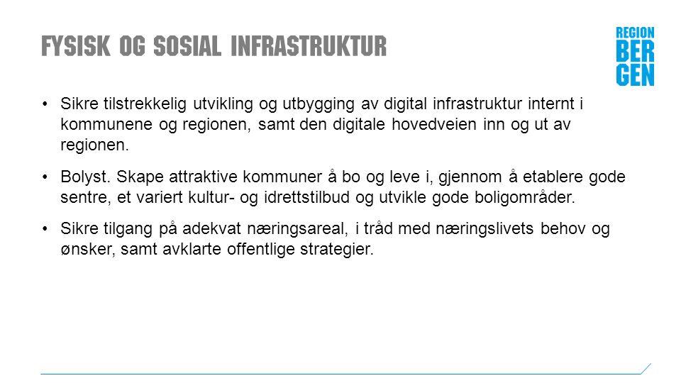 Fysisk og sosial infrastruktur Sikre tilstrekkelig utvikling og utbygging av digital infrastruktur internt i kommunene og regionen, samt den digitale hovedveien inn og ut av regionen.