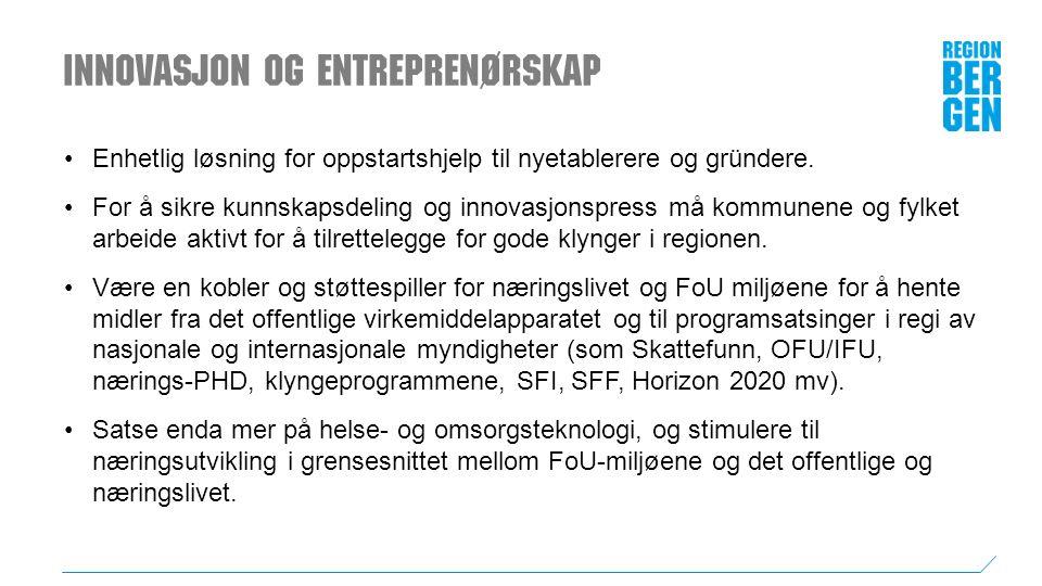 Innovasjon og entreprenørskap Enhetlig løsning for oppstartshjelp til nyetablerere og gründere.