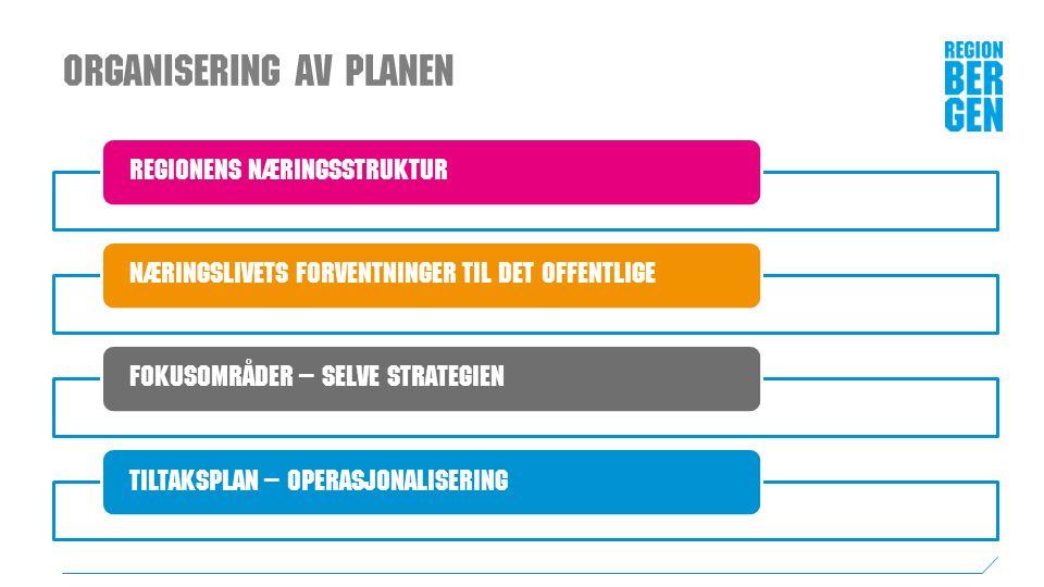 Organisering av planen Regionens næringsstruktur Næringslivets forventninger til det offentligeFokusområder – selve strategienTiltaksplan – operasjonalisering