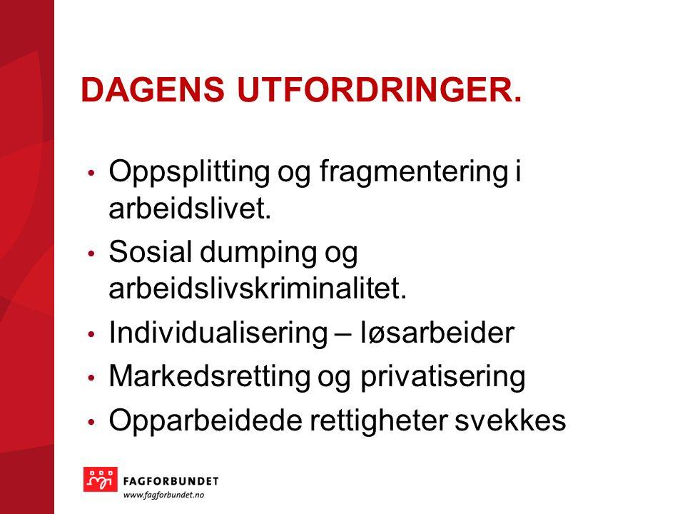 DAGENS UTFORDRINGER. Oppsplitting og fragmentering i arbeidslivet.