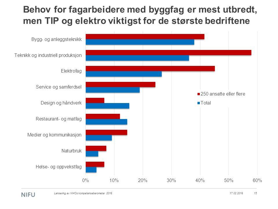 17.02.2016Lansering av NHOs kompetansebarometer 201615 Behov for fagarbeidere med byggfag er mest utbredt, men TIP og elektro viktigst for de største bedriftene