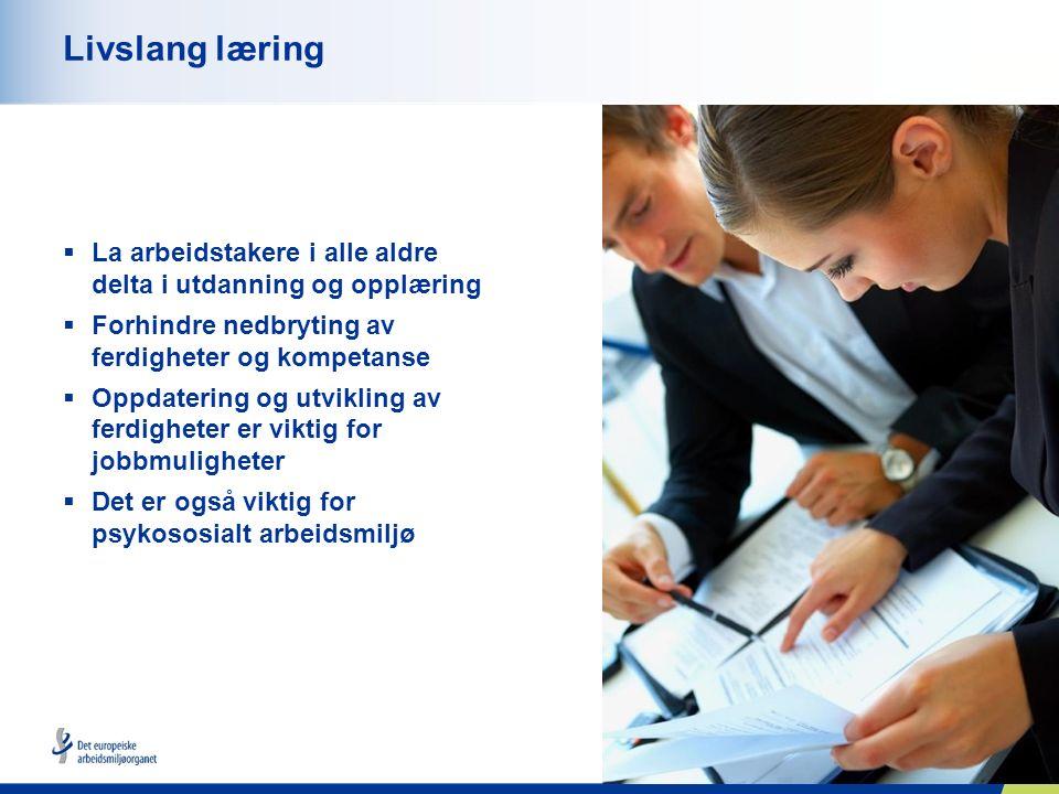 10 Livslang læring  La arbeidstakere i alle aldre delta i utdanning og opplæring  Forhindre nedbryting av ferdigheter og kompetanse  Oppdatering og utvikling av ferdigheter er viktig for jobbmuligheter  Det er også viktig for psykososialt arbeidsmiljø