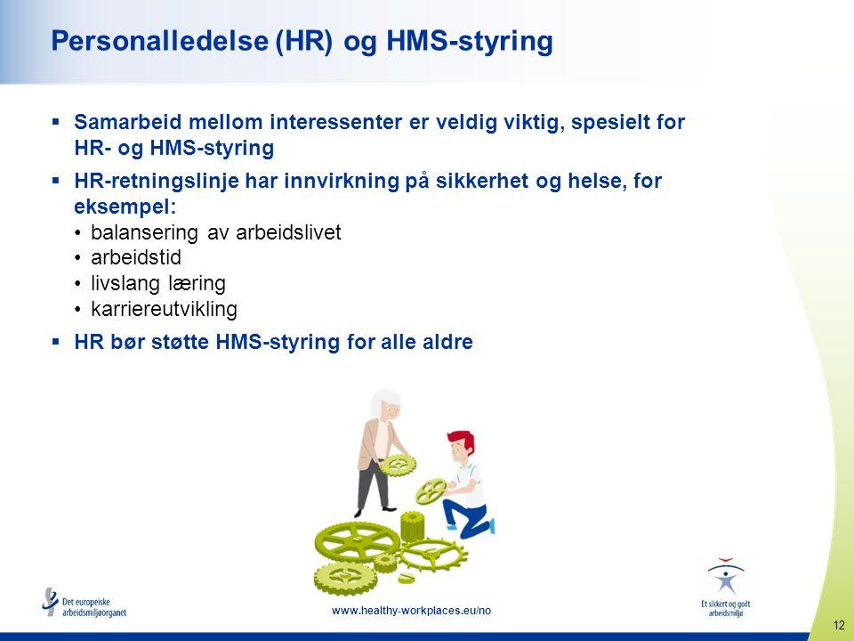 12 www.healthy-workplaces.eu/no Personalledelse (HR) og HMS-styring  Samarbeid mellom interessenter er veldig viktig, spesielt for HR- og HMS-styring  HR-retningslinje har innvirkning på sikkerhet og helse, for eksempel: balansering av arbeidslivet arbeidstid livslang læring karriereutvikling  HR bør støtte HMS-styring for alle aldre