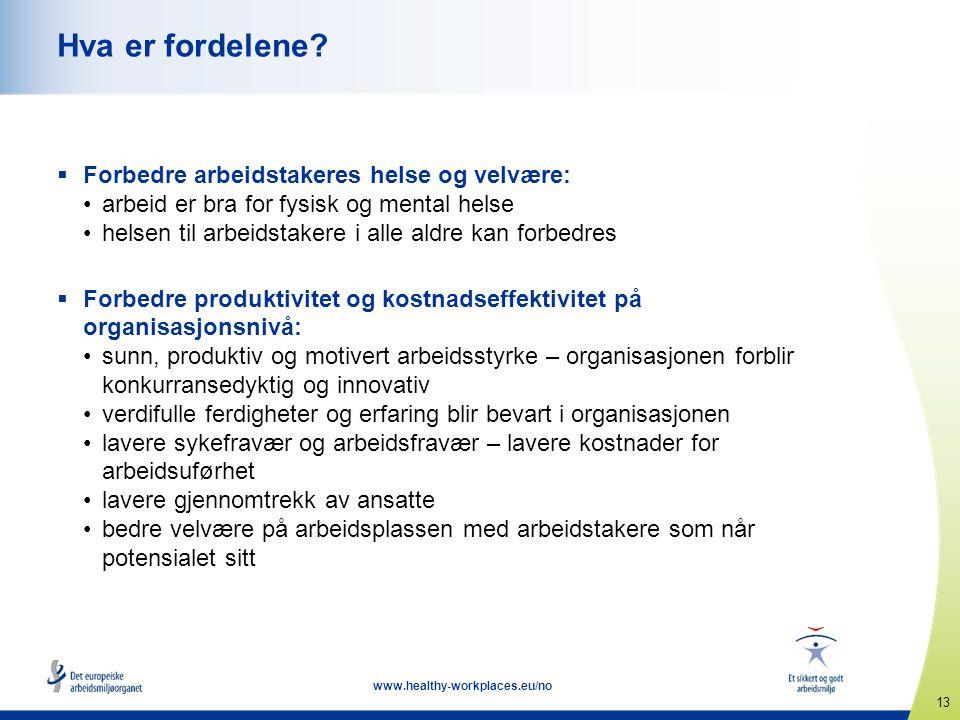 13 www.healthy-workplaces.eu/no Hva er fordelene?  Forbedre arbeidstakeres helse og velvære: arbeid er bra for fysisk og mental helse helsen til arbe