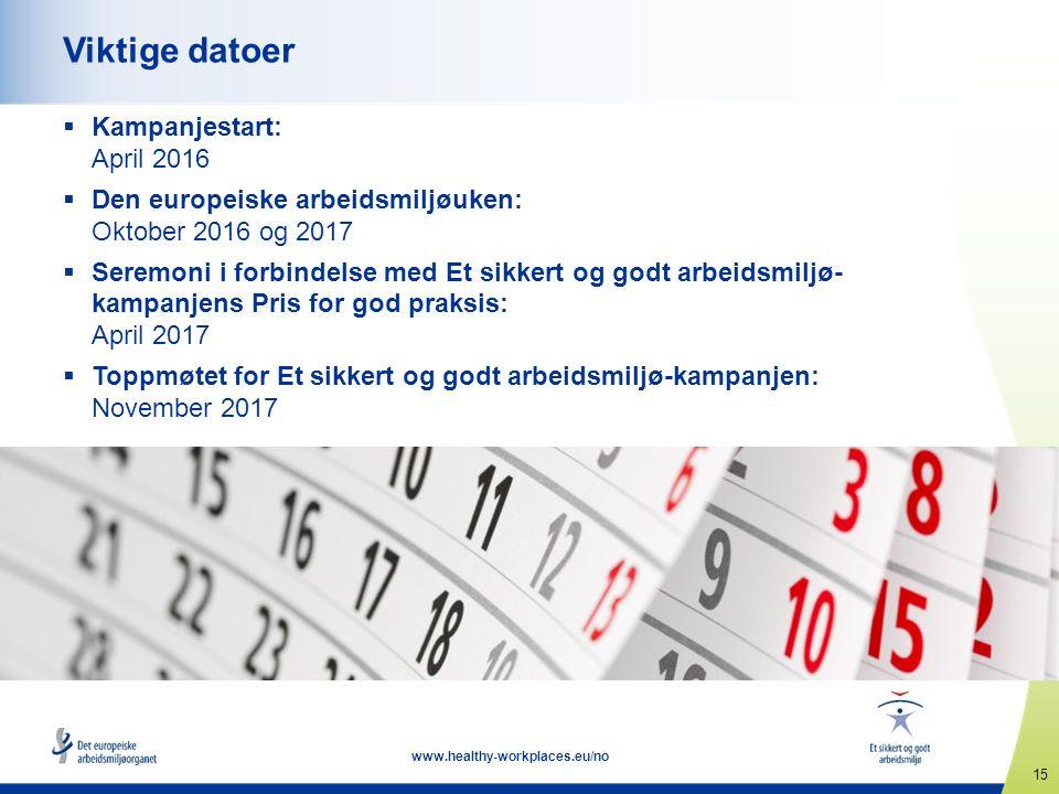 15 www.healthy-workplaces.eu/no Viktige datoer  Kampanjestart: April 2016  Den europeiske arbeidsmiljøuken: Oktober 2016 og 2017  Seremoni i forbin