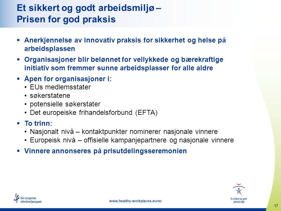 17 www.healthy-workplaces.eu/no Et sikkert og godt arbeidsmiljø – Prisen for god praksis  Anerkjennelse av innovativ praksis for sikkerhet og helse p