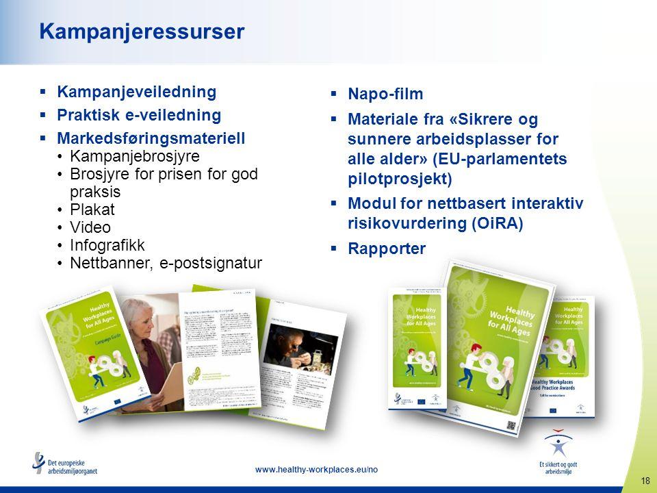 18 www.healthy-workplaces.eu/no Kampanjeressurser  Kampanjeveiledning  Praktisk e-veiledning  Markedsføringsmateriell Kampanjebrosjyre Brosjyre for prisen for god praksis Plakat Video Infografikk Nettbanner, e-postsignatur  Napo-film  Materiale fra «Sikrere og sunnere arbeidsplasser for alle alder» (EU-parlamentets pilotprosjekt)  Modul for nettbasert interaktiv risikovurdering (OiRA)  Rapporter
