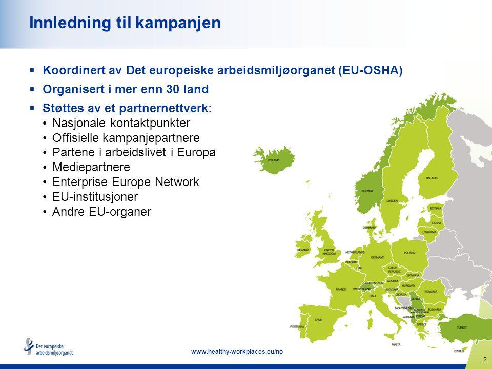 2 www.healthy-workplaces.eu/no Innledning til kampanjen  Koordinert av Det europeiske arbeidsmiljøorganet (EU-OSHA)  Organisert i mer enn 30 land  Støttes av et partnernettverk: Nasjonale kontaktpunkter Offisielle kampanjepartnere Partene i arbeidslivet i Europa Mediepartnere Enterprise Europe Network EU-institusjoner Andre EU-organer