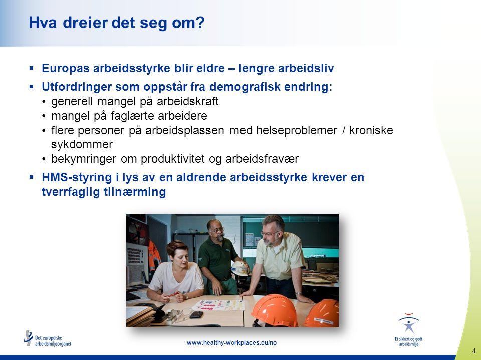 4 www.healthy-workplaces.eu/no Hva dreier det seg om?  Europas arbeidsstyrke blir eldre – lengre arbeidsliv  Utfordringer som oppstår fra demografis