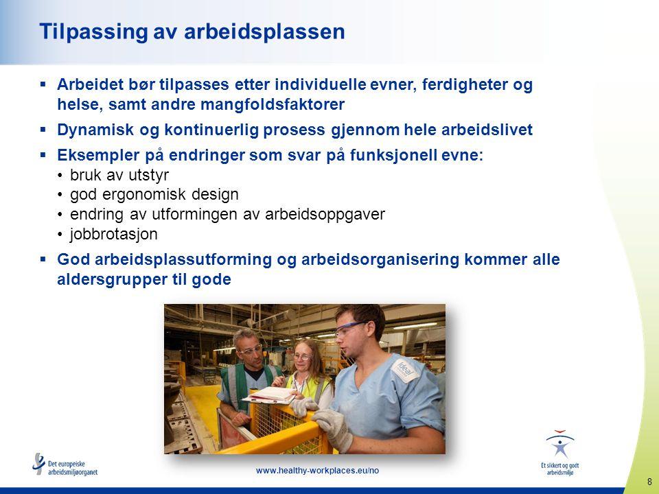 8 www.healthy-workplaces.eu/no Tilpassing av arbeidsplassen  Arbeidet bør tilpasses etter individuelle evner, ferdigheter og helse, samt andre mangfo