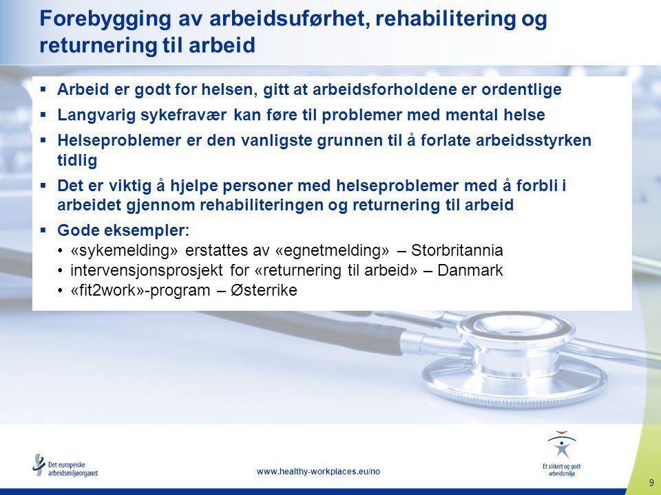 9 www.healthy-workplaces.eu/no Forebygging av arbeidsuførhet, rehabilitering og returnering til arbeid  Arbeid er godt for helsen, gitt at arbeidsfor
