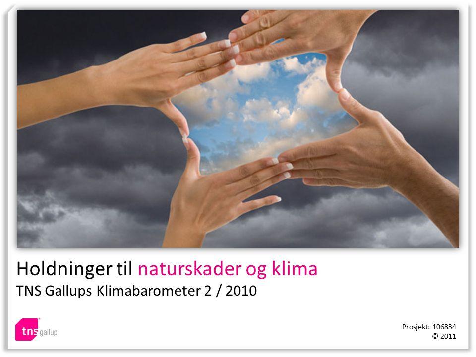 Holdninger til naturskader og klima TNS Gallups Klimabarometer 2 / 2010 Prosjekt: 106834 © 2011