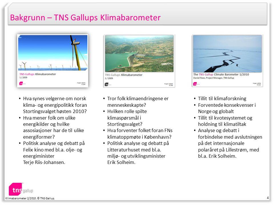 15 Klimabarometer 2/2010. © TNS Gallup. Tillit til klimaforskning