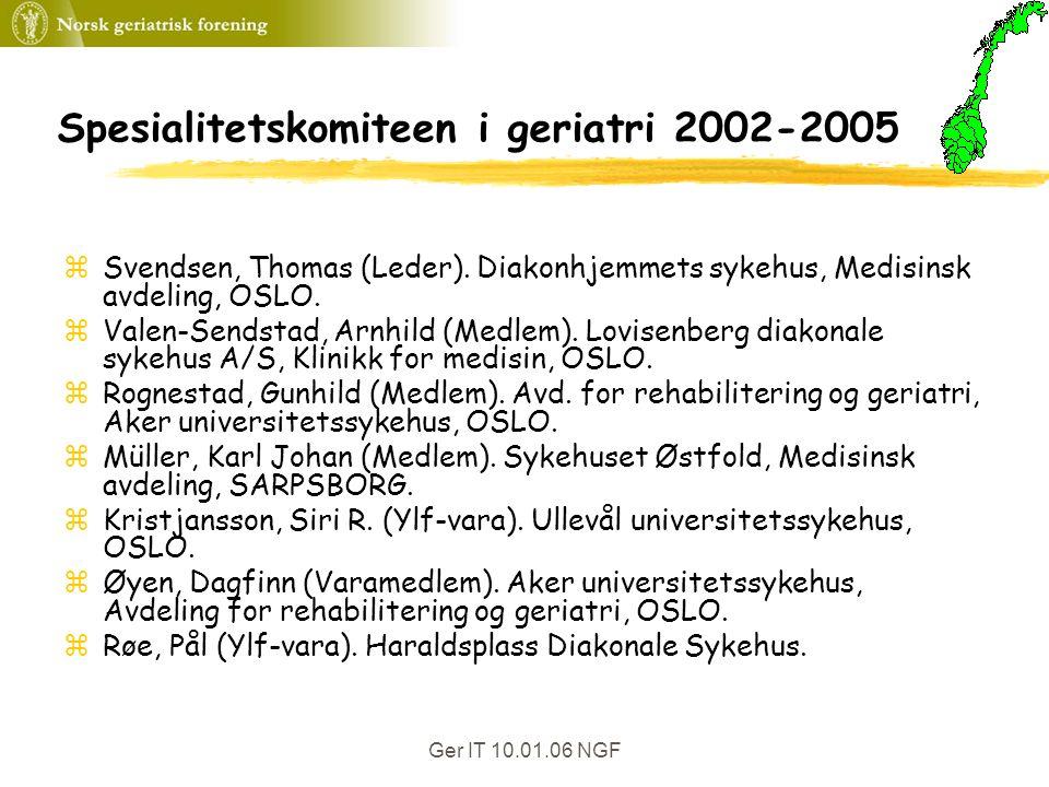 Ger IT 10.01.06 NGF Spesialitetskomiteen i geriatri 2002-2005 zSvendsen, Thomas (Leder).