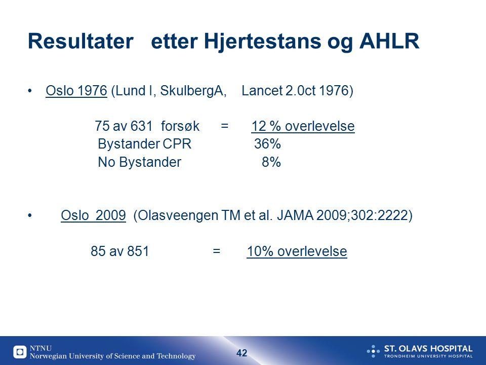 42 Resultater etter Hjertestans og AHLR Oslo 1976 (Lund I, SkulbergA, Lancet 2.0ct 1976) 75 av 631 forsøk = 12 % overlevelse Bystander CPR 36% No Bystander 8% Oslo 2009 (Olasveengen TM et al.