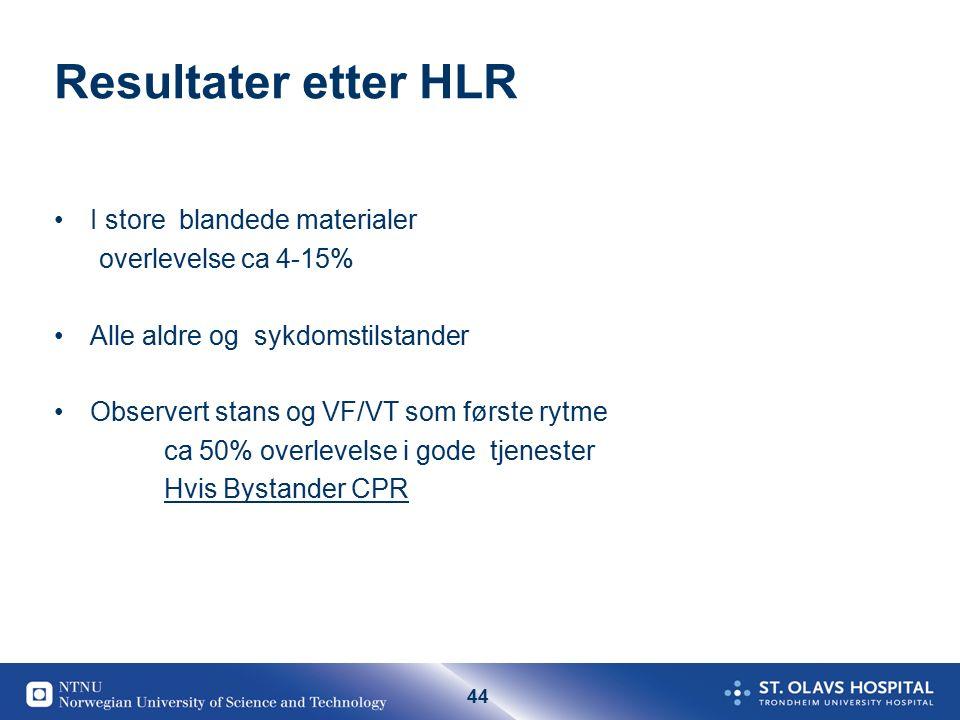 44 Resultater etter HLR I store blandede materialer overlevelse ca 4-15% Alle aldre og sykdomstilstander Observert stans og VF/VT som første rytme ca 50% overlevelse i gode tjenester Hvis Bystander CPR