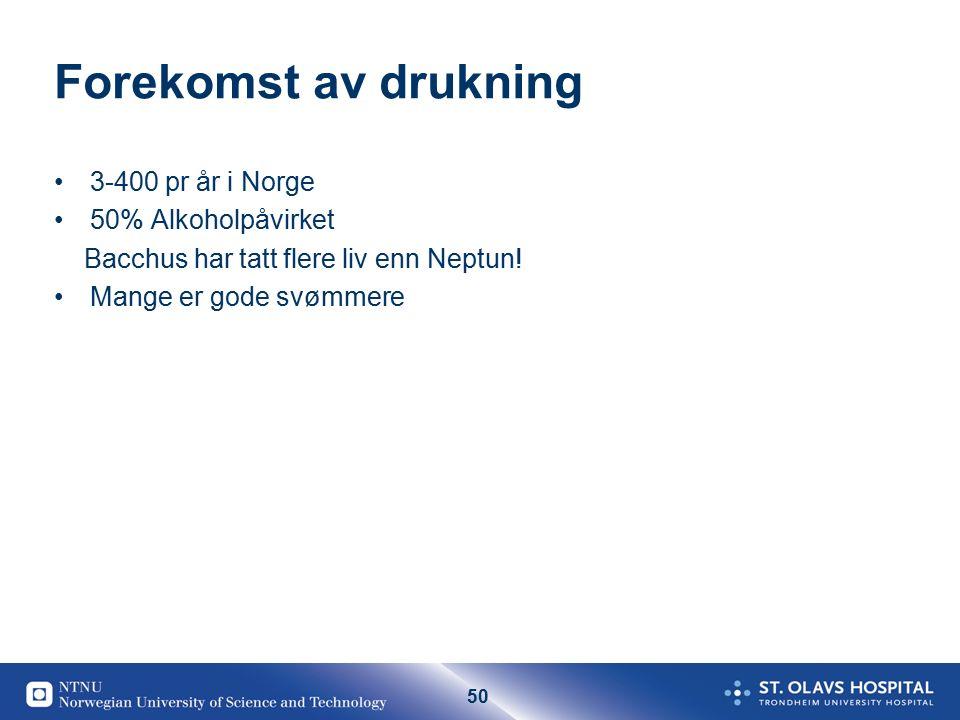 50 Forekomst av drukning 3-400 pr år i Norge 50% Alkoholpåvirket Bacchus har tatt flere liv enn Neptun.